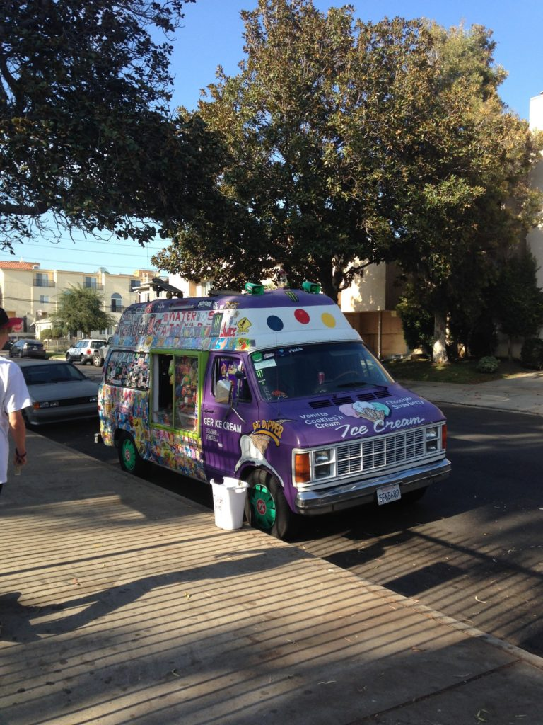 The well known ice cream van at Stoner Skate Plaza.
