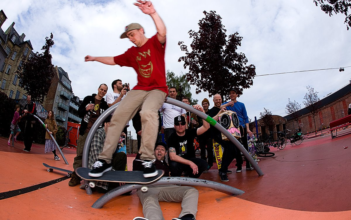 Nørrebro. Copenhagen. Red plaza, with all the skateboard.dk home hanging in the back. Everything is dope in this picture.
