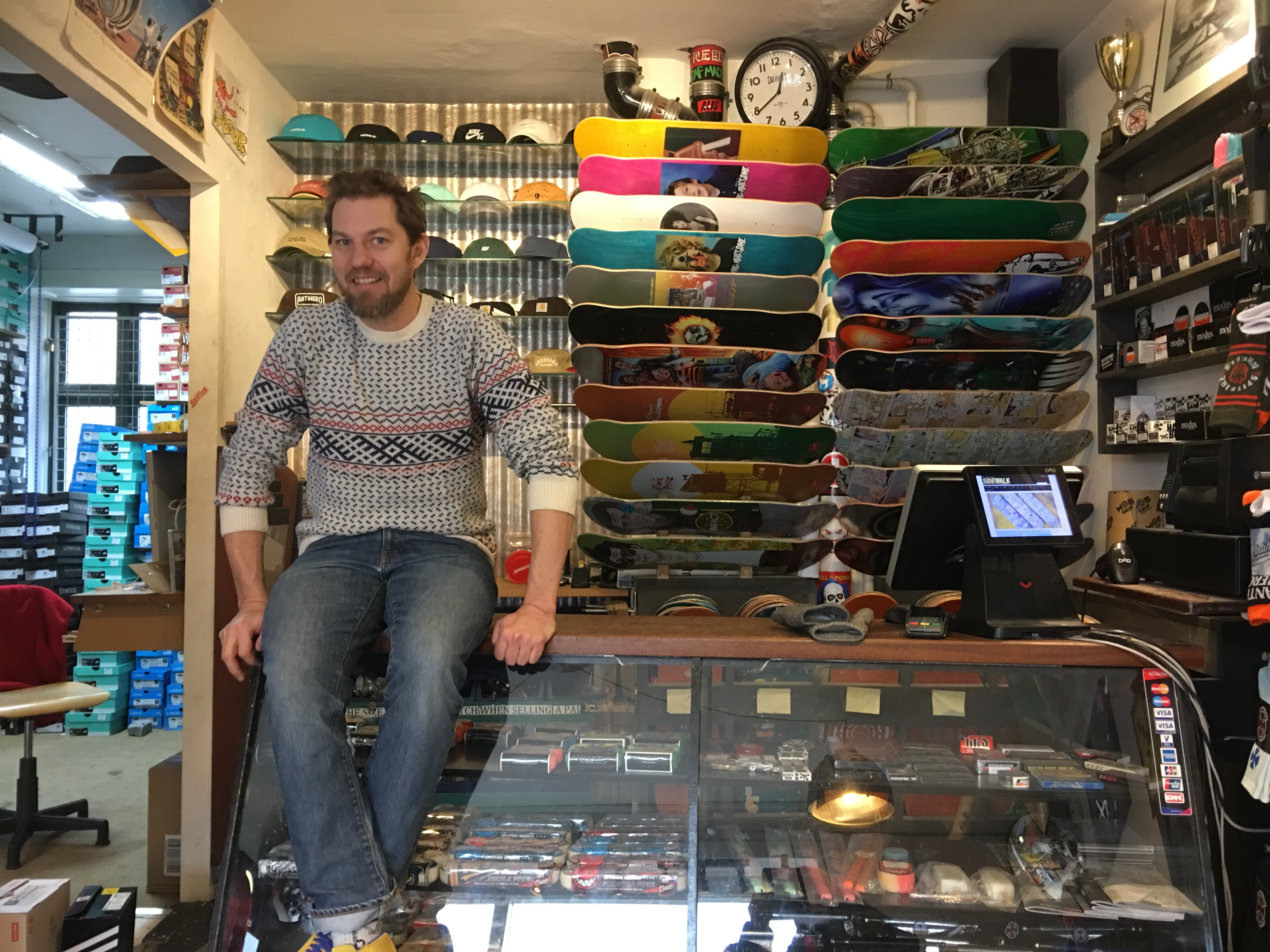 Thomas Madsen, skateboarder, father and sidewalk skateshop owner.