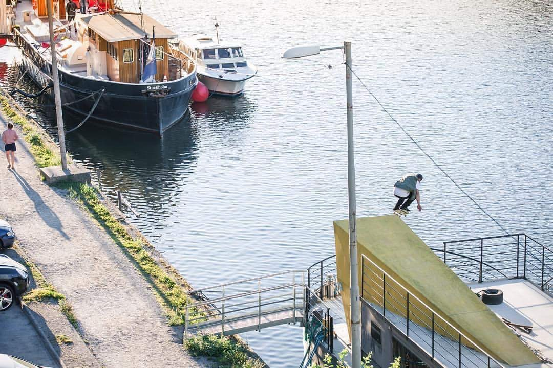 Bs flip in tight and quite ruff bank, Stockholm Photo by Filip Sjövall..