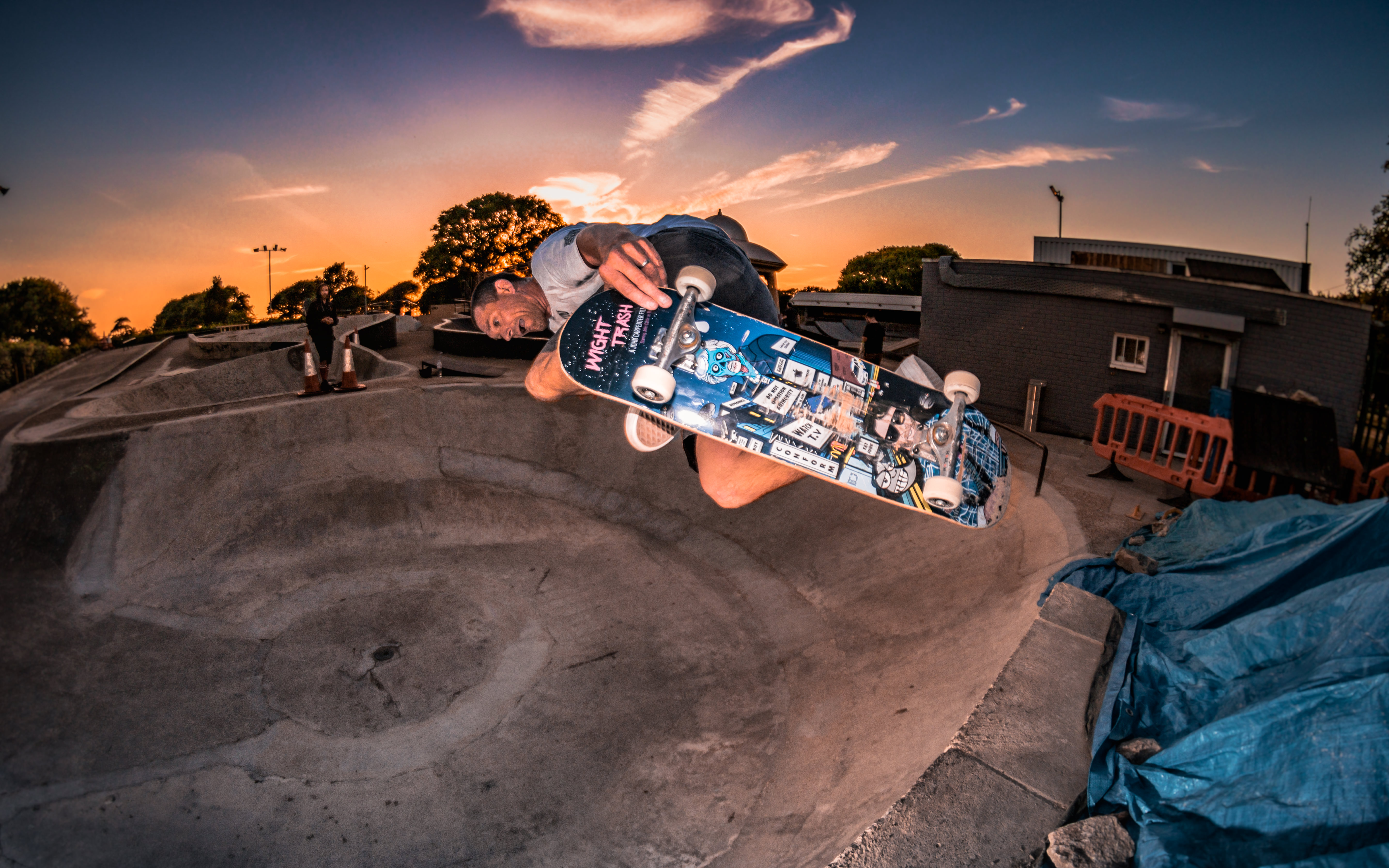 Backside Air on the crust revealed by removal of the 'new' bowl at Southsea Skatepark | Photo - Paul Scott @oldskoolpaul