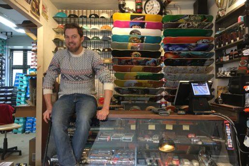 Thomas Madsen, skateboarder, father and sidewalk skateshop owner.